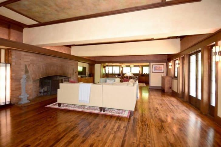 Interior shot of the F.B. Henderson House by American architect Frank Lloyd Wright in Elmhurst, Illinois