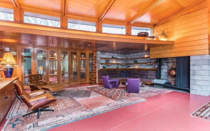 Interior shot of Tirranna by American architect Frank Lloyd Wright in New Canaan, Connecticut.
