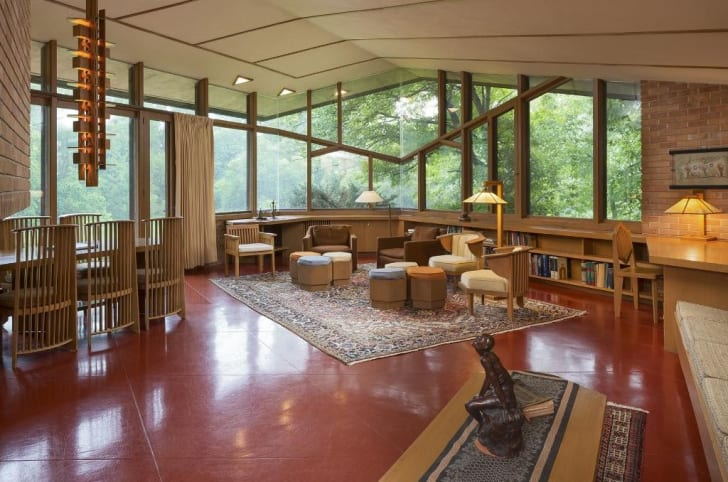 Interior shot of the Paul Olfelt House by American architect Frank Lloyd Wright in St. Louis Park, Minnesota