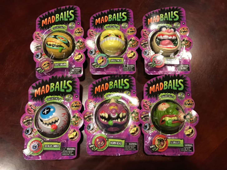 An assortment of Madballs, still in the package