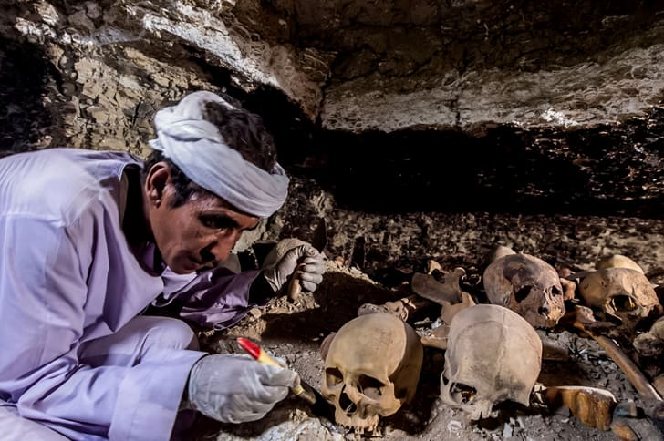 A laborer cleans an ancient skull in a goldsmith's tomb in egypt