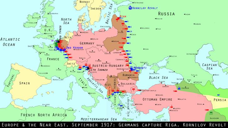 Europe and the Near East, September 1917: Germans capture Riga, Kornilov Revolt
