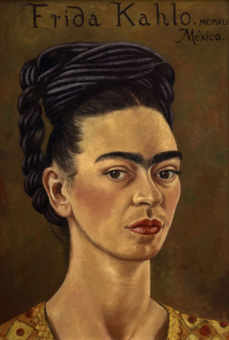 A self-portrait by Frida Kahlo shows her from the shoulders up.