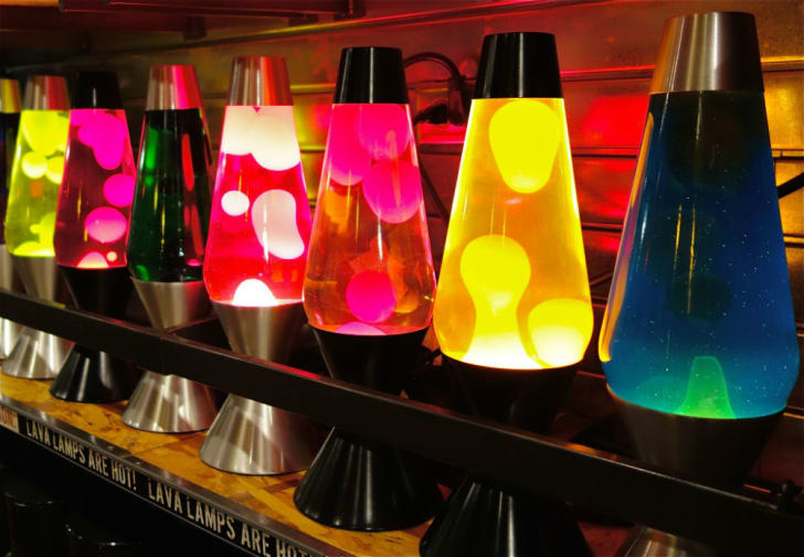 A row of lava lamps on display at Spencer Gifts