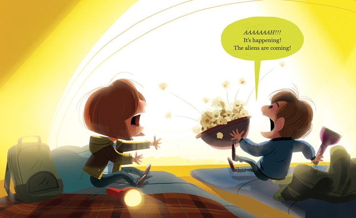 Mulder and Scully scream at a loud noise outside their tent, spilling popcorn.