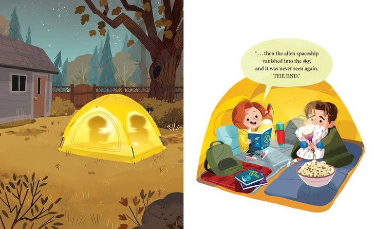 Mulder and Scully read aloud inside a tent.