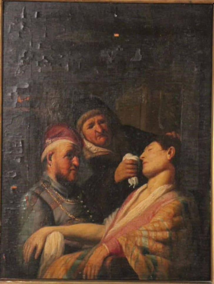 """""""The Unconscious Patient (An Allegory of Smell),"""" painted between 1624 and 1625 by Rembrandt van Rijn as one of five oil paintings in his series """"The Senses."""""""