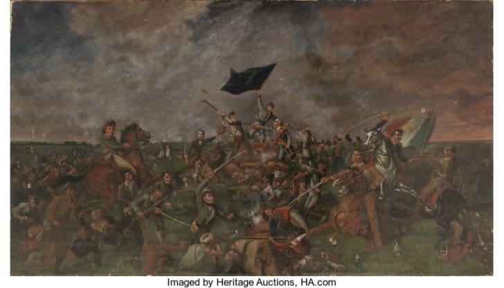"""The Battle of San Jacinto,"" a 1901 painting by Texas artist Henry Arthur (""Harry"") McArdle."