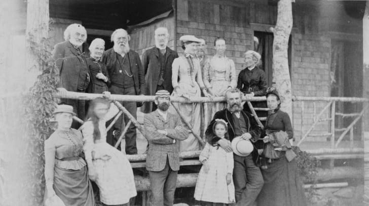 Alexander Graham Bell with family and friends