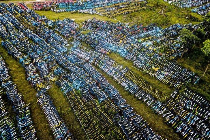 Bike graveyard in China.
