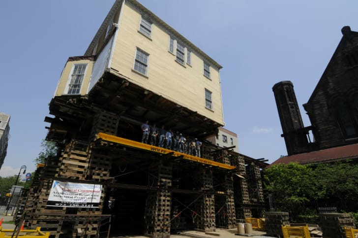 The Hamilton house is raised 32 feet above grade
