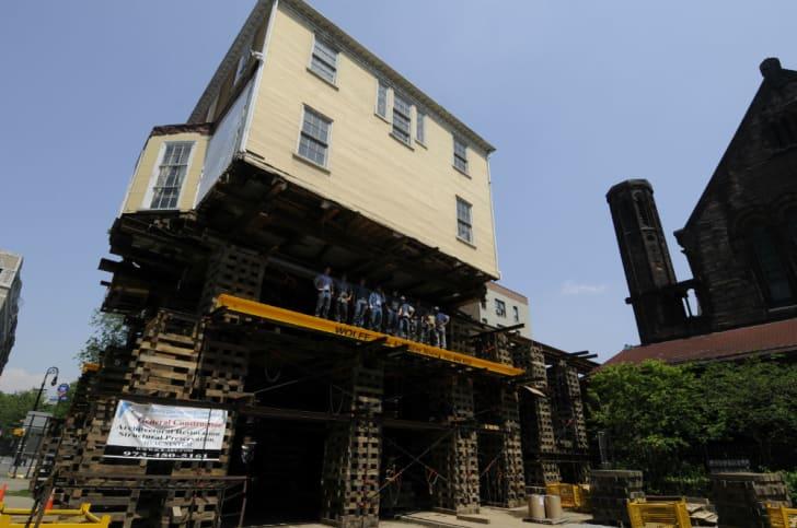 The Hamilton house is raised 32 feet above grade