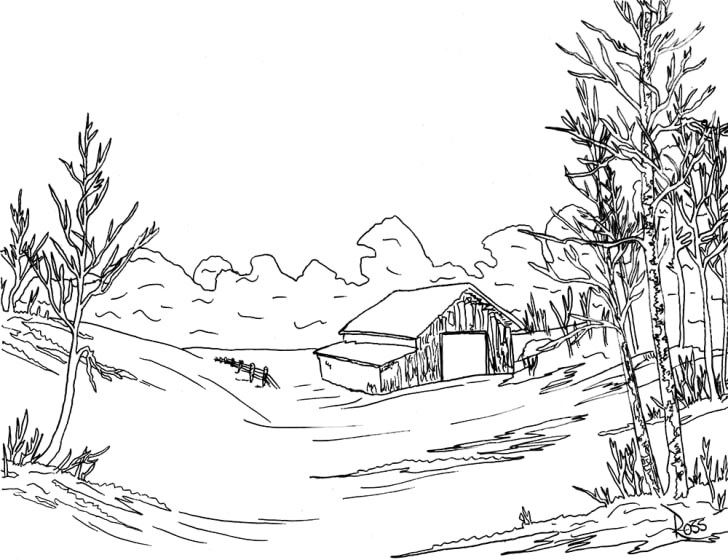 A black-and-white outline of a Bob Ross painting shows a farm scene.
