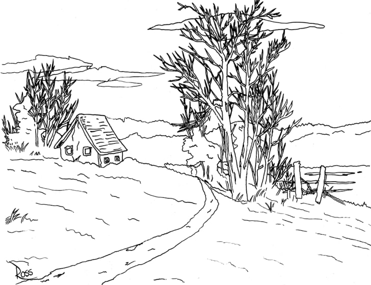 A black-and-white outline of a Bob Ross painting shows a house nestled among trees.