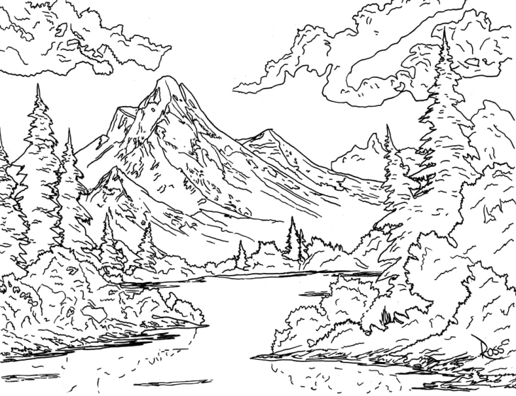 An black-and-white outline of a Bob ross painting of a mountain valley