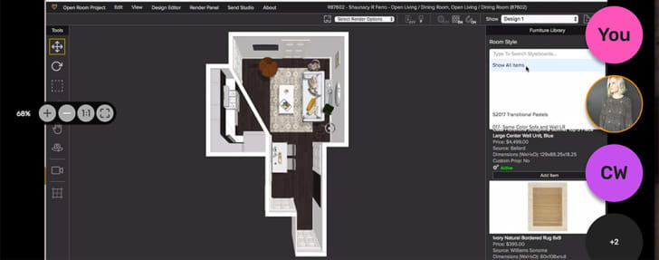 A screenshot of software used to manipulate floorplan designs