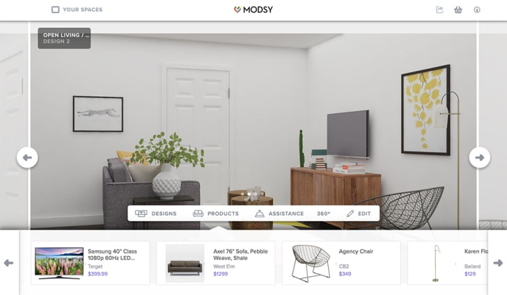 A digital rendering of a room is overlaid with product links to the furniture inside.