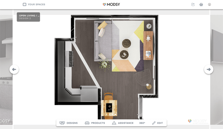 An illustrated floorplan shows an open kitchen/living room combination with furniture.