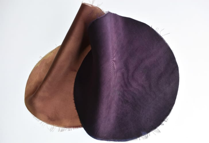 Two pieces of bacteria-dyed silk, one brown, one purple.