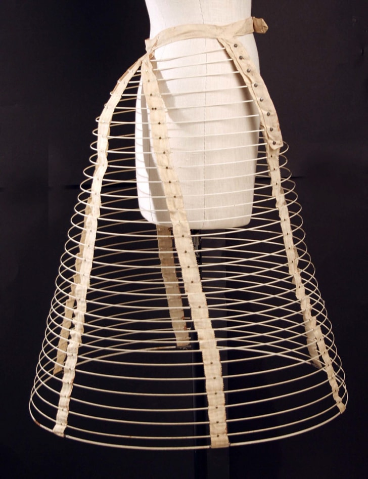 An 1880s metal and cotton crinoline