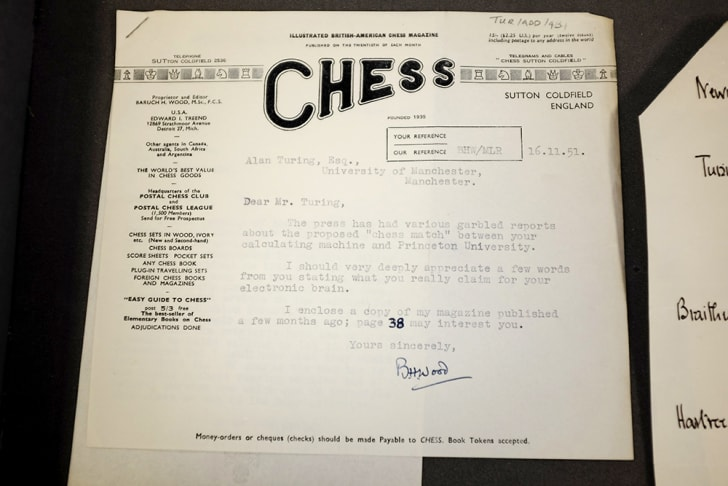 A typed letter to Alan Turing has a watermark that says 'Chess.'