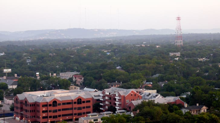 An arial photo of the Clarksville neighborhood in Austin, Texas and beyond