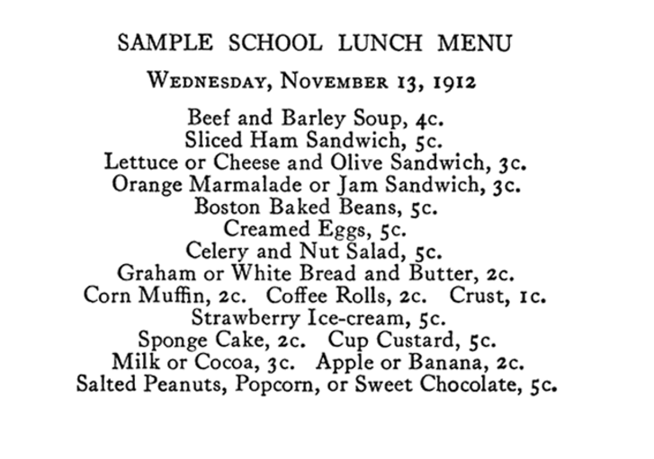 A sample early 20th century school lunch menu from the Women's Educational and Industrial Union