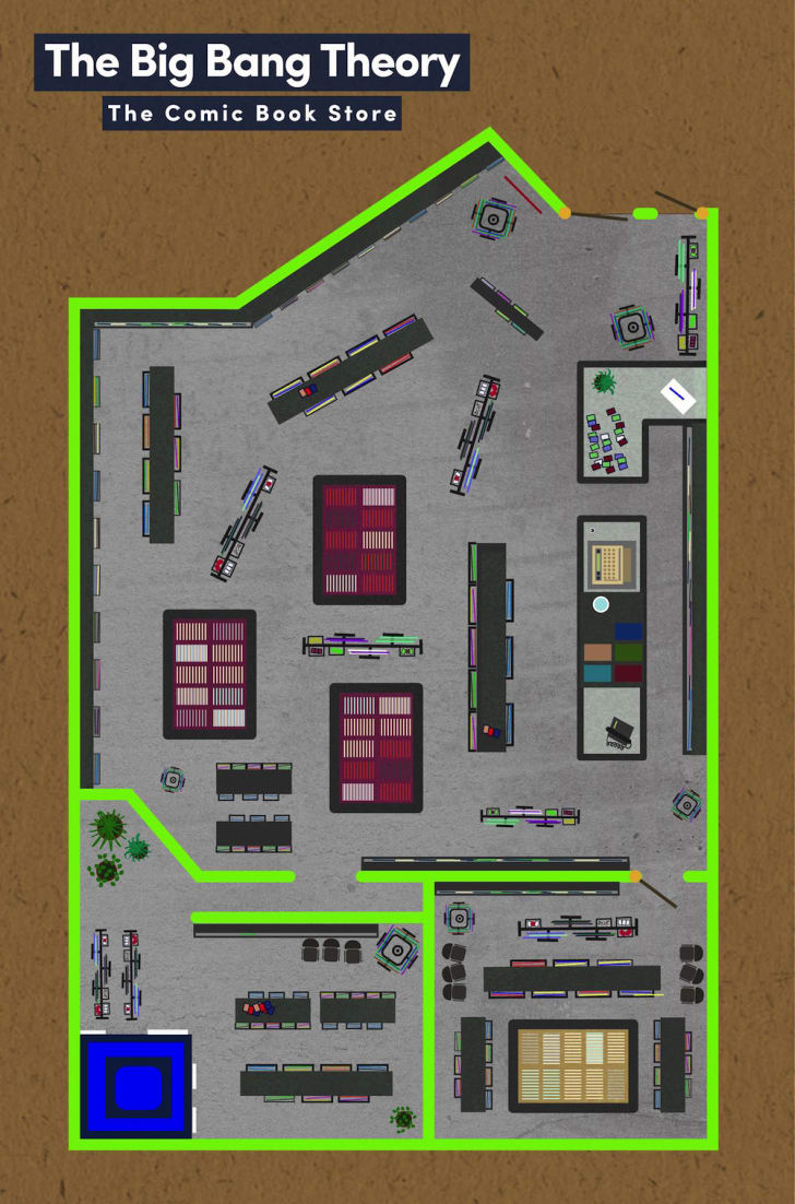 Floor plan of store from Big Bang Theory.