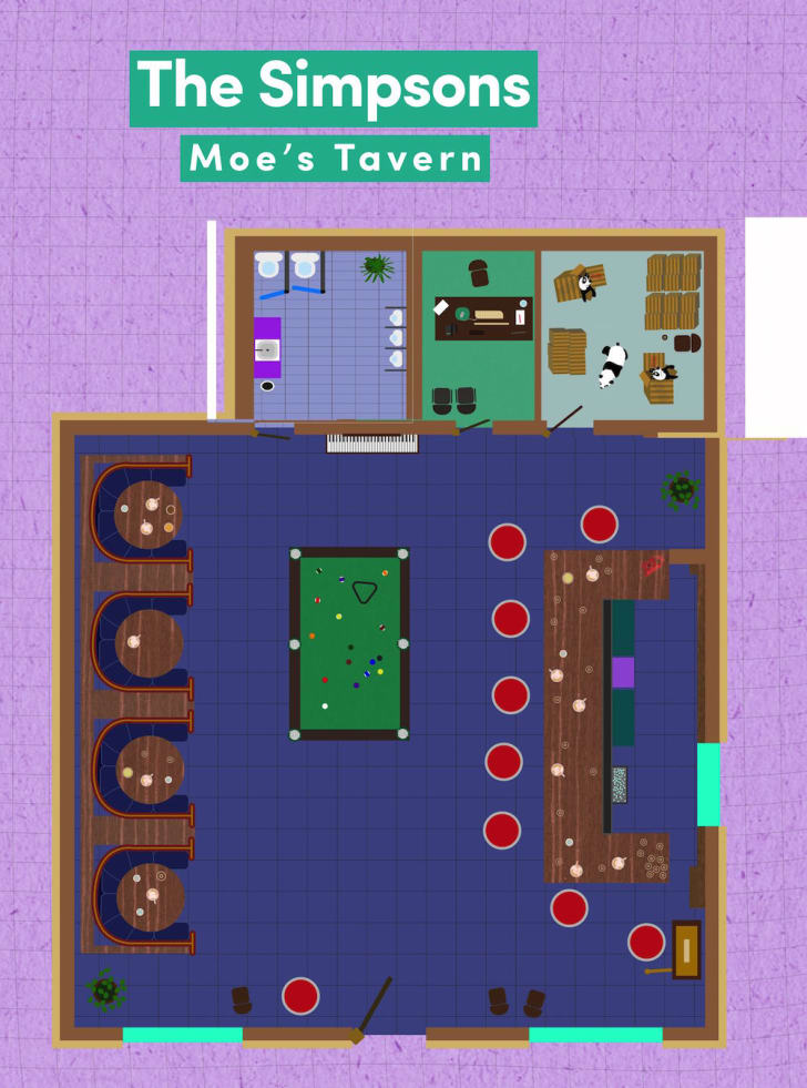 Floor plan of Moe's Tavern.