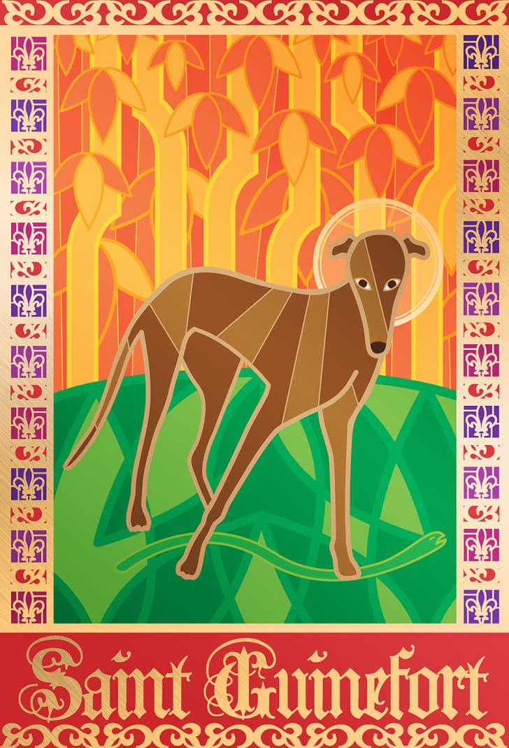 A stylized illuminated manuscript-type illustration of a greyhound
