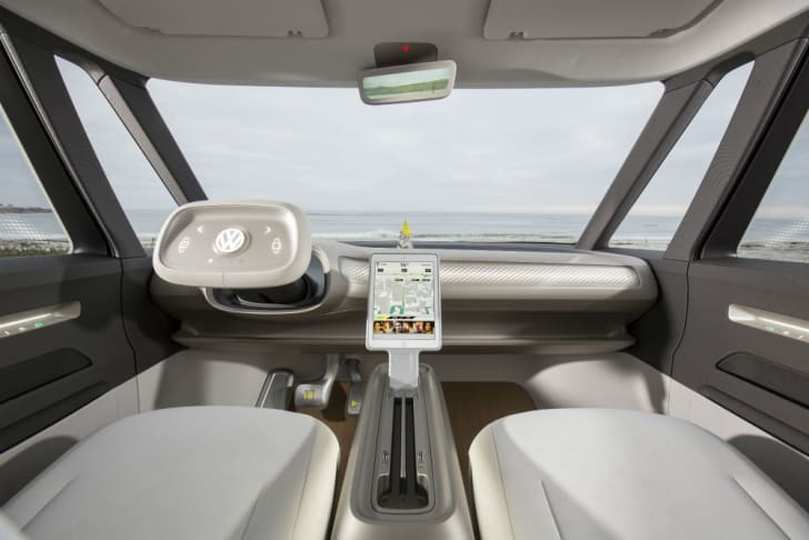 A look at the interior of the Volkswagen Microbus