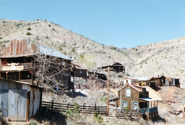 Sunbleached historic buildings in the ghost town of Jerome, Arizona