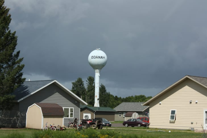 A water tower above Odanah, Wisconsin