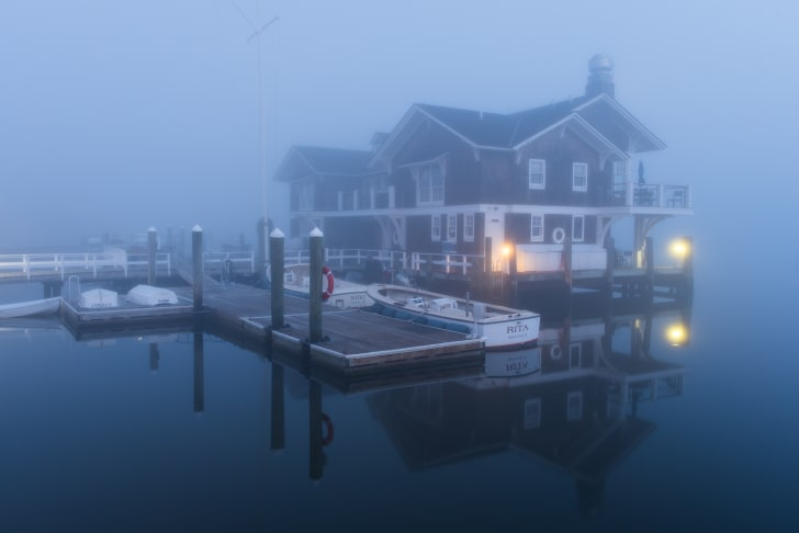 Watch Hill Yacht Club in the morning fog