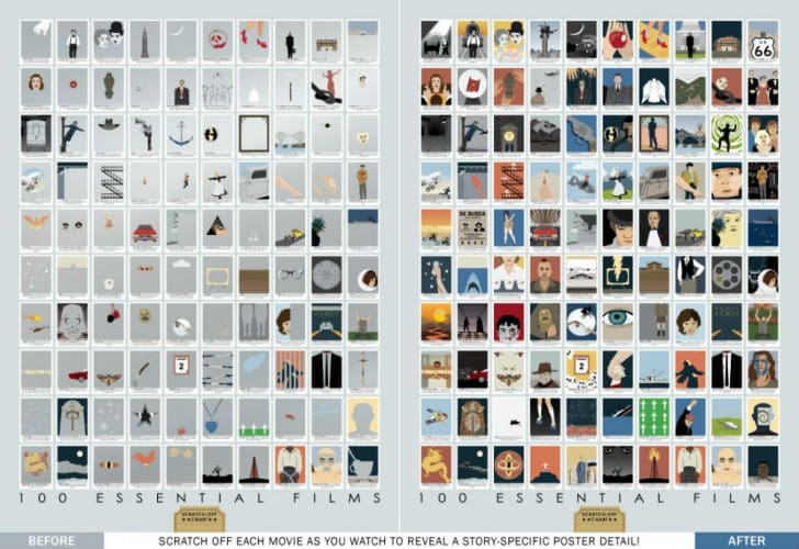 A look at a scratch-off poster featuring 100 classic films