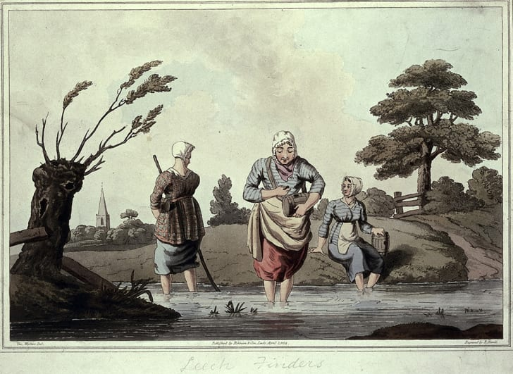 An 1800s aquatint of three women wading in a stream gathering leeches.