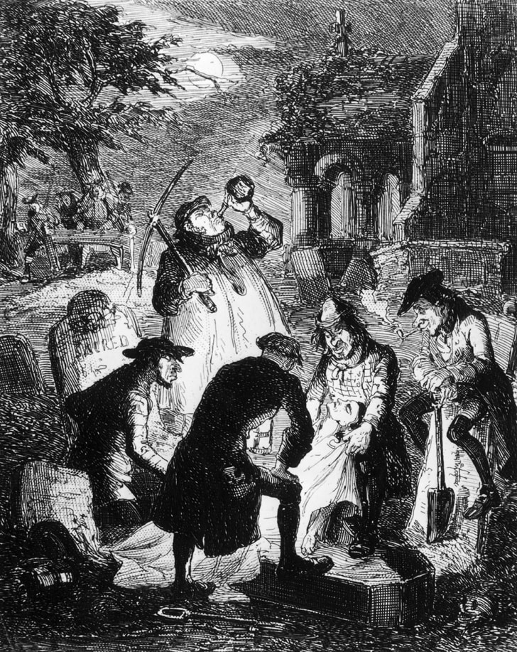 An 1840 drawing of a group of resurrectionists at work