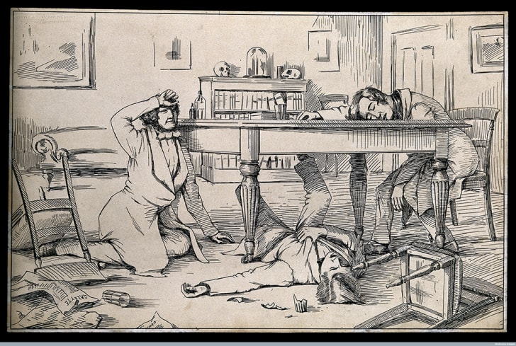 A drawing said to depict the effects of liquid chloroform on James Y. Simpson and his friends.