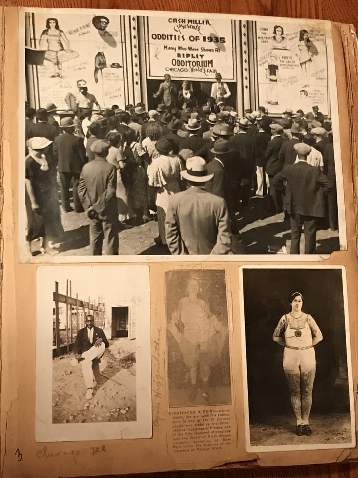 Clippings and pictures from Agnes Schwarzenbacher's circus scrapbook