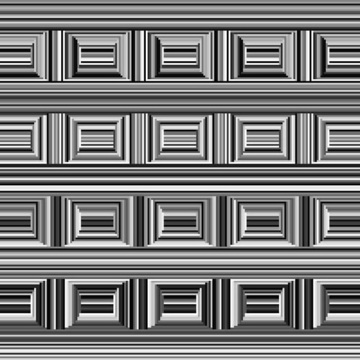 An optical illusion appears at first glance to show 20 squares made of gray, black, and white lines.