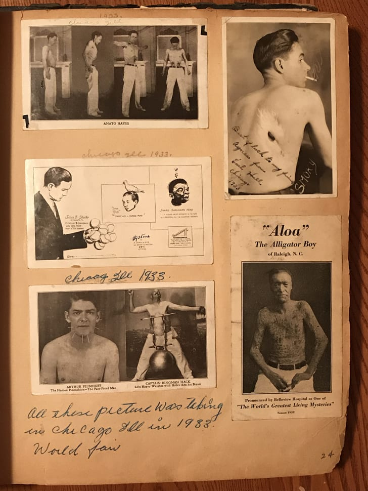 A page of promotional images from Agnes Schwarzenbacher's circus scrapbook