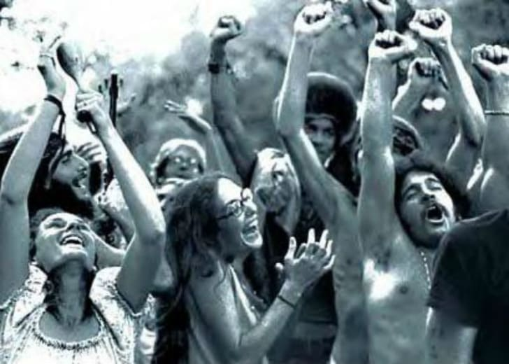 Attendees at Woodstock in 1969 are pictured