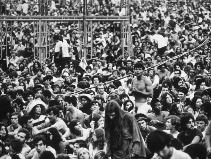 The crowd at Woodstock is pictured