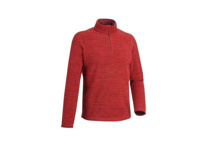 A red half-zip fleece jacket