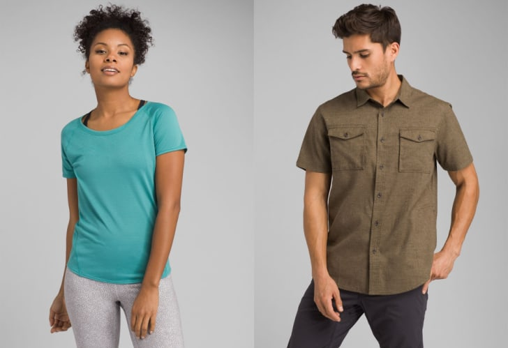 A woman and a man in a prAna t-shirt and button down, respectively