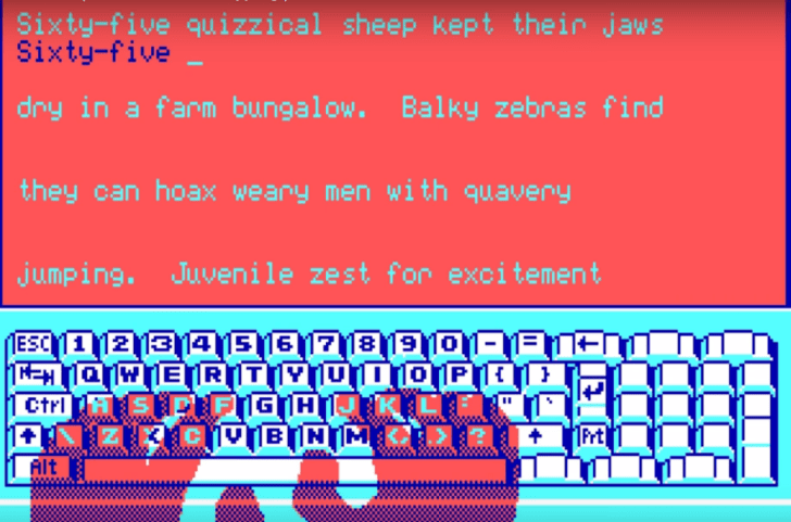 A screen shot from 'Mavis Beacon Teaches Typing'