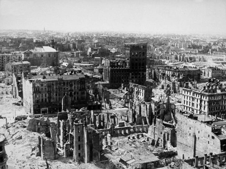 Warsaw in ruins.