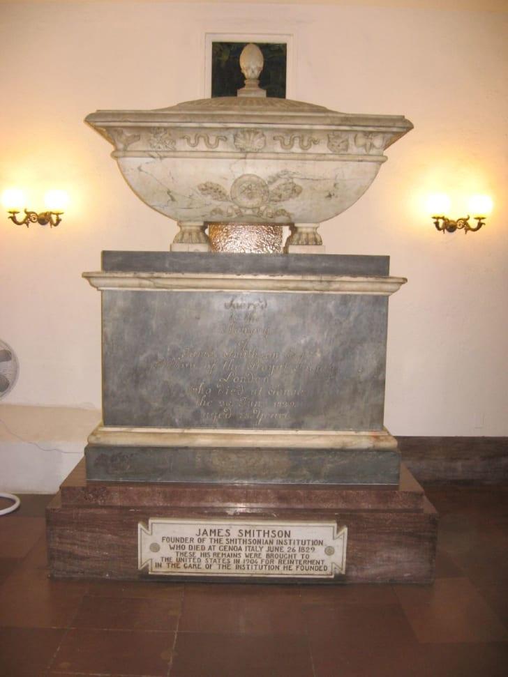 James Smithson's final resting place within the walls of the Smithsonian
