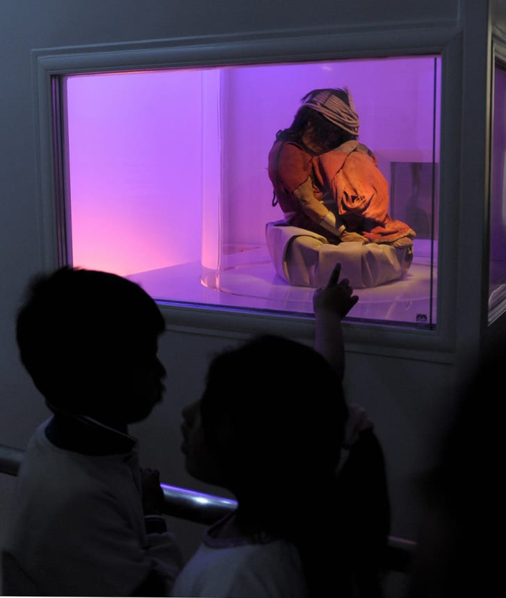 School children look at one of the mummies found in the Llullaillaco volcano.
