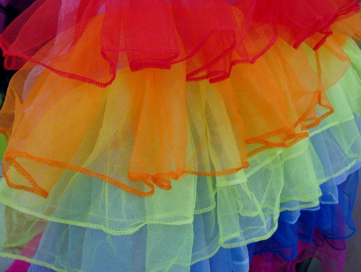A multi-layered, rainbow-colored tutu